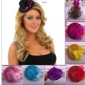 New 2Pc Set Feather Mini Hat Net Rose🌹clip